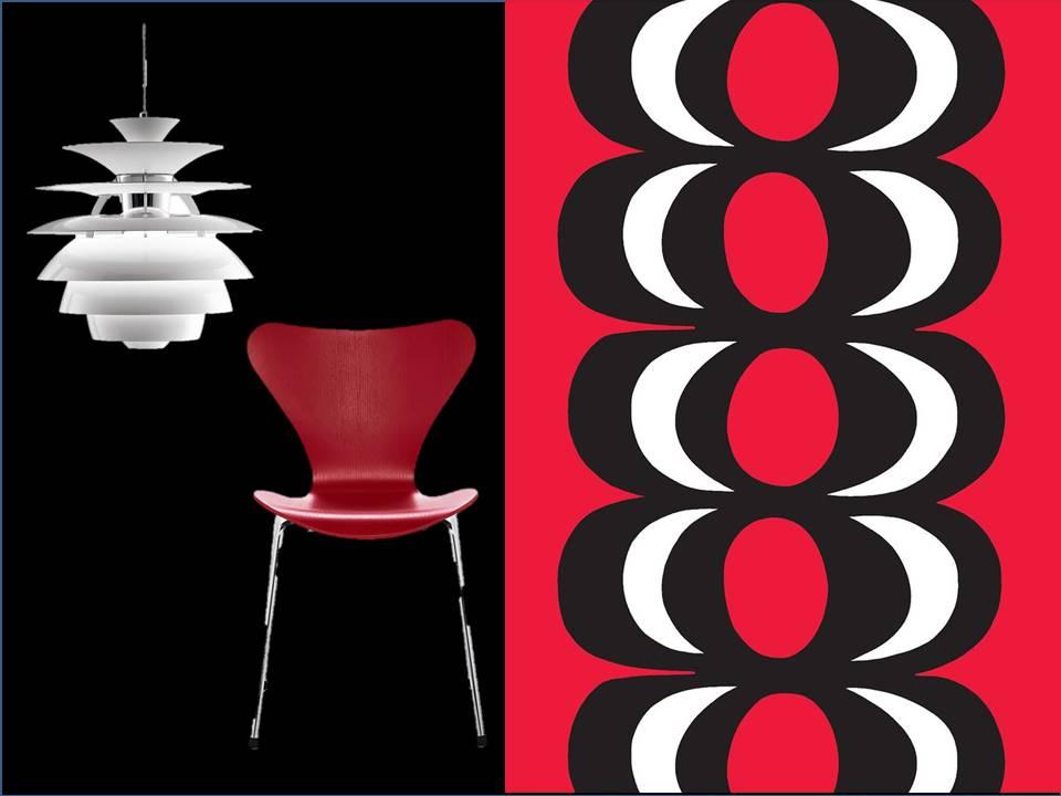 Suspension PH Snowball de Poul Hennigsen. Chaise Séries 7 de Arne Jacobsen. Tissu Kaivo de Marimekko.
