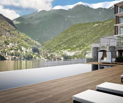 Il Sereno lac de Côme vue de la piscine.