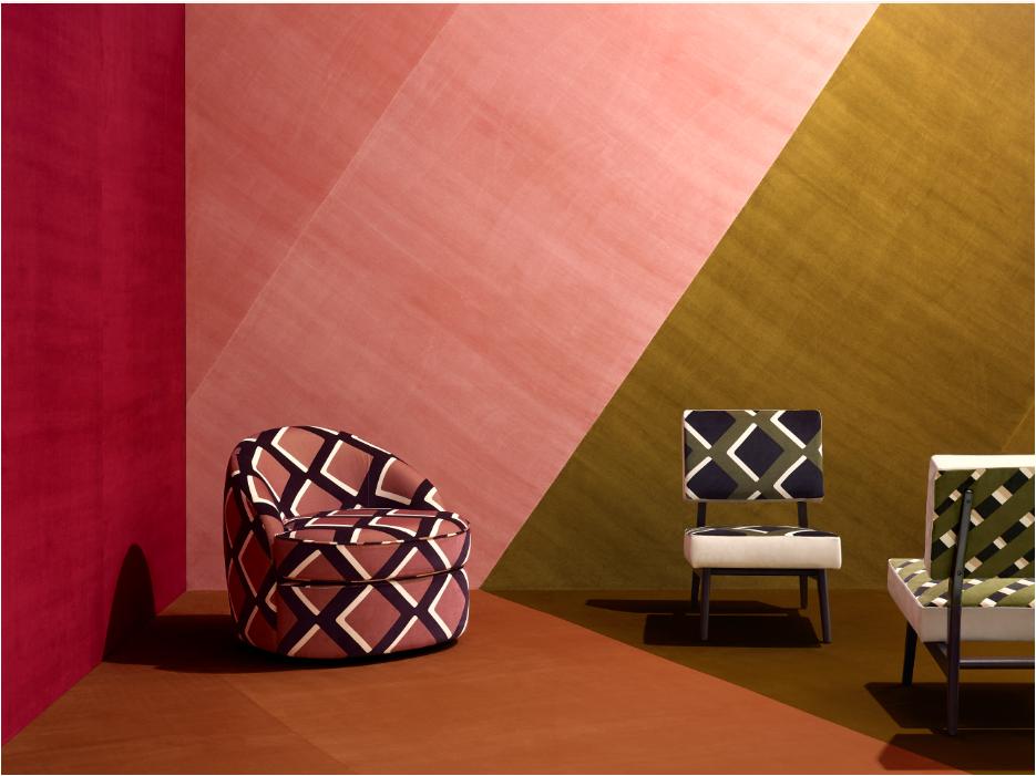 Exemple décoration rose tendance Pierre Frey. Espaces contemporains