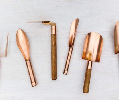 Outils de jardin en cuivre et bronze, faits à la main, Grafa