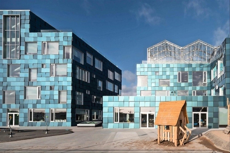 Panneau photovoltaïque innovant et esthétique. Façade. Architecture solaire