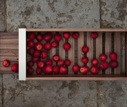 Cuisine, solutions design et écologiques. Clayette, cageot légumes.