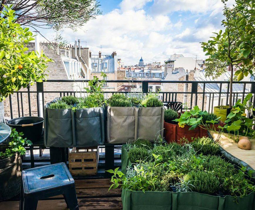 Poches racinaires, pots en géotextile, sacs à plantes, jardinières déco et design pour balcon