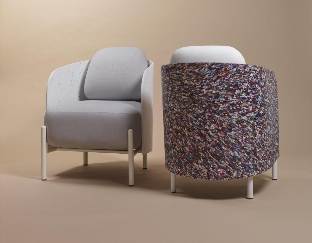 Meuble et décoration écologique. Plastique et matériau recyclé.